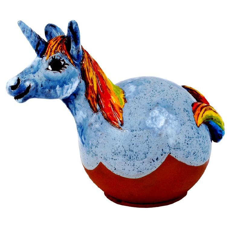 Eenhoorn blauw – tuinbol- UITVERKOCHT